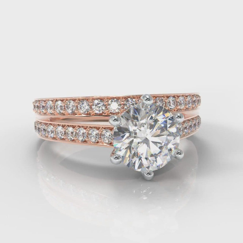 Star Pavé Round Brilliant Diamond Bridal Set - Rose Gold