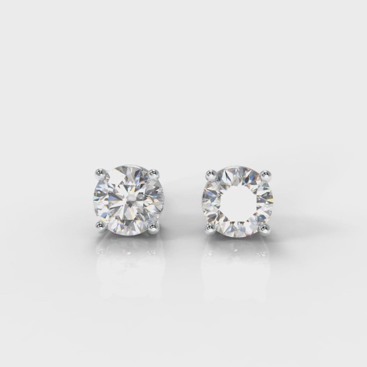 Four Claw Diamond Stud Earrings (GIA Certified)