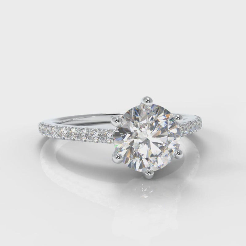 Star Petite Micropavé Round Brilliant Cut Diamond Engagement Ring