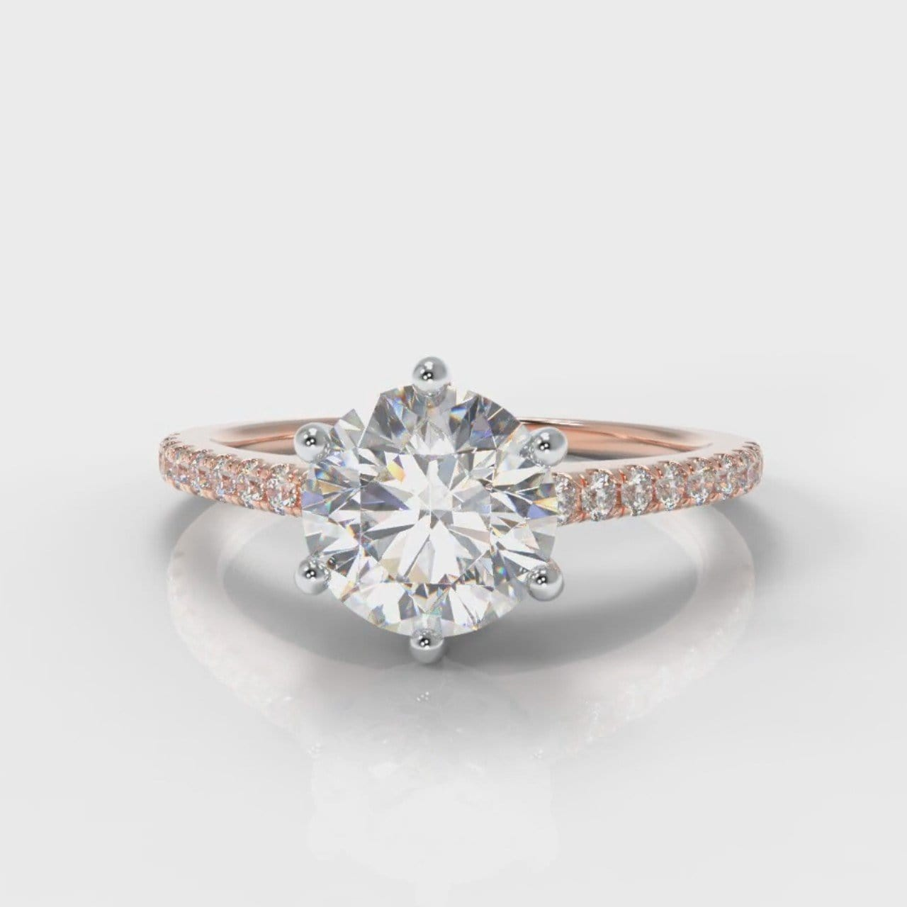 Star Petite Micropavé Round Brilliant Cut Diamond Engagement Ring - Rose Gold