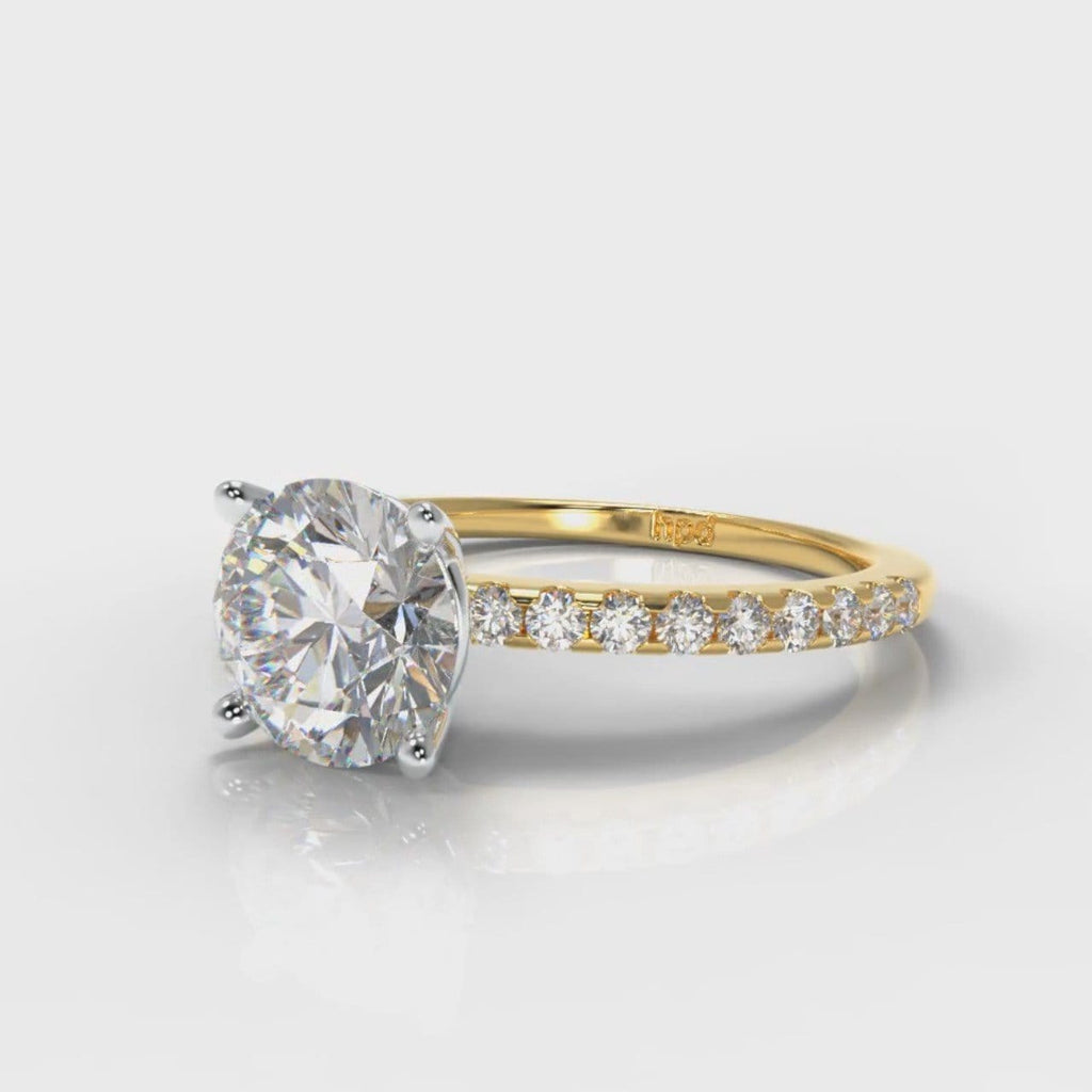 Petite Micropavé Round Brilliant Cut Diamond Engagement Ring - Yellow Gold