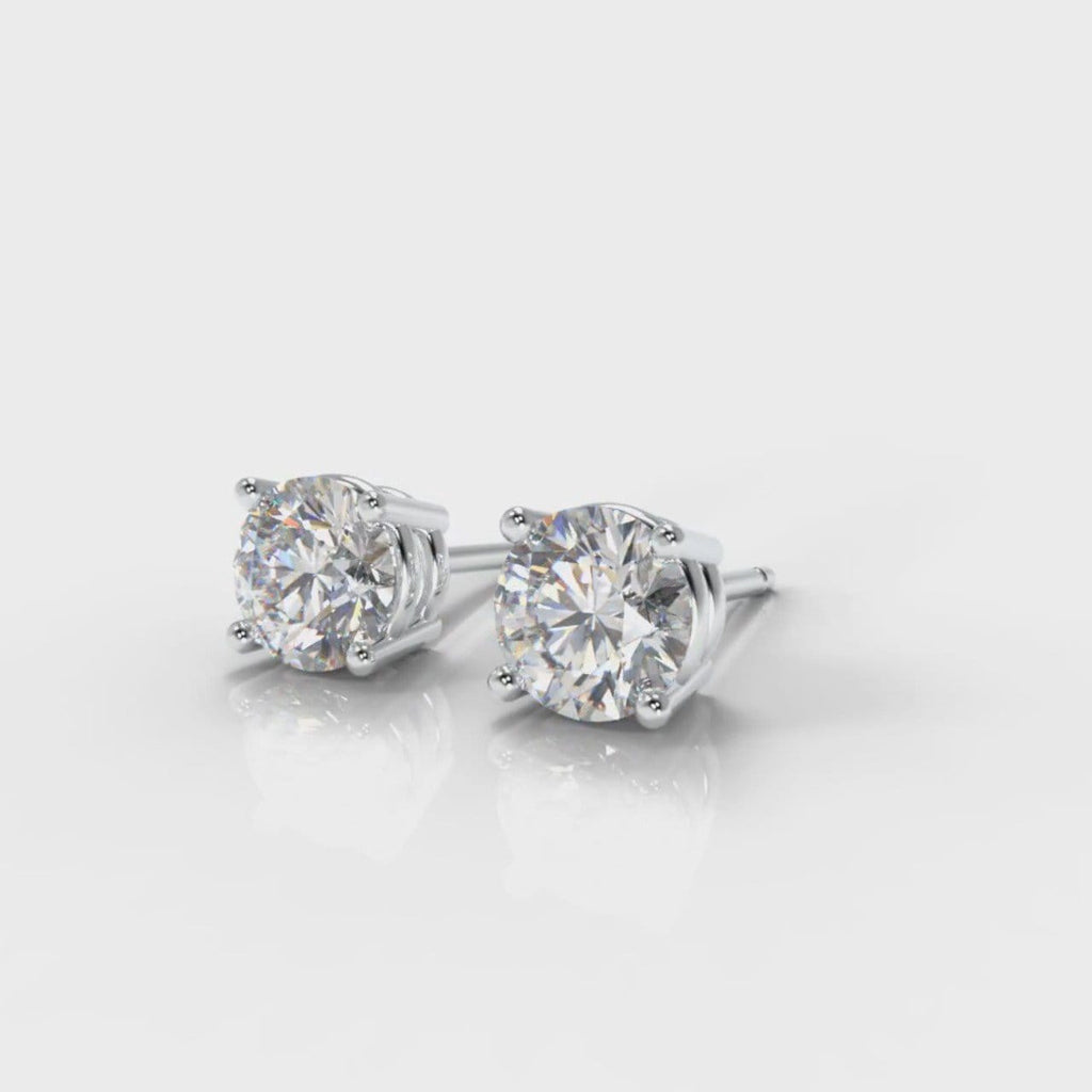 Four Claw Diamond Stud Earrings