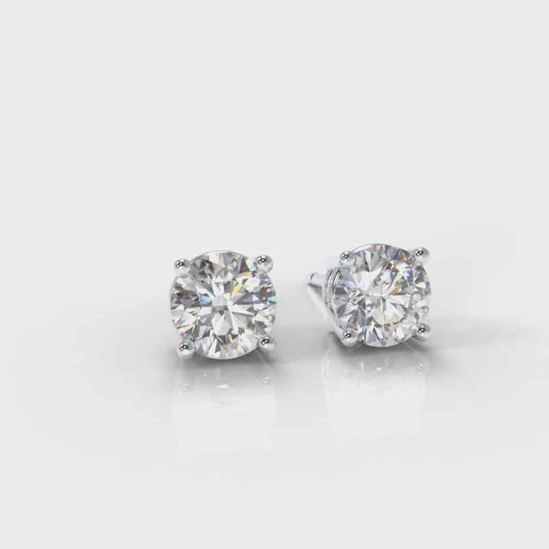 Four Claw Diamond Stud Earrings (Lab Grown Diamond)