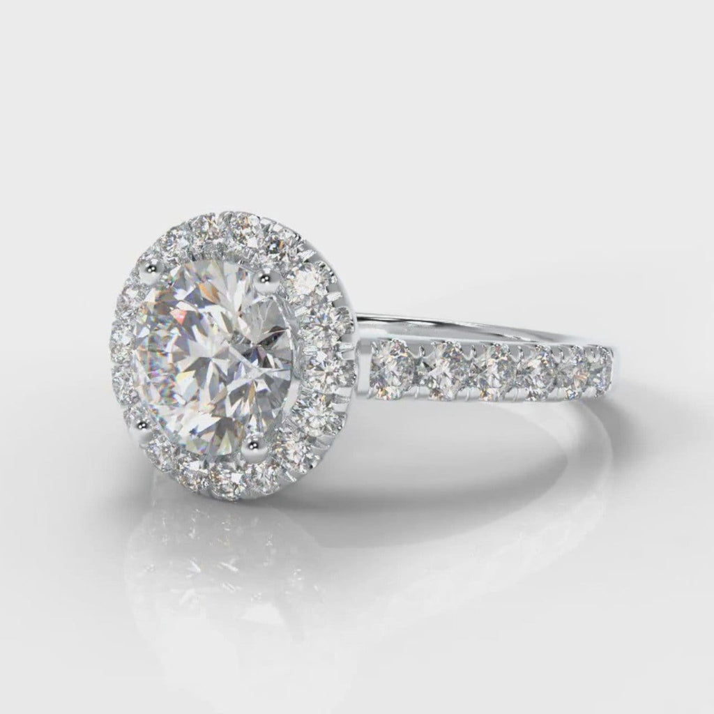 Micropavé Round Brilliant Cut Diamond Halo Engagement Ring