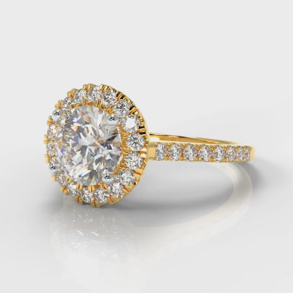 Petite Micropavé Round Brilliant Cut Diamond Halo Engagement Ring - Yellow Gold