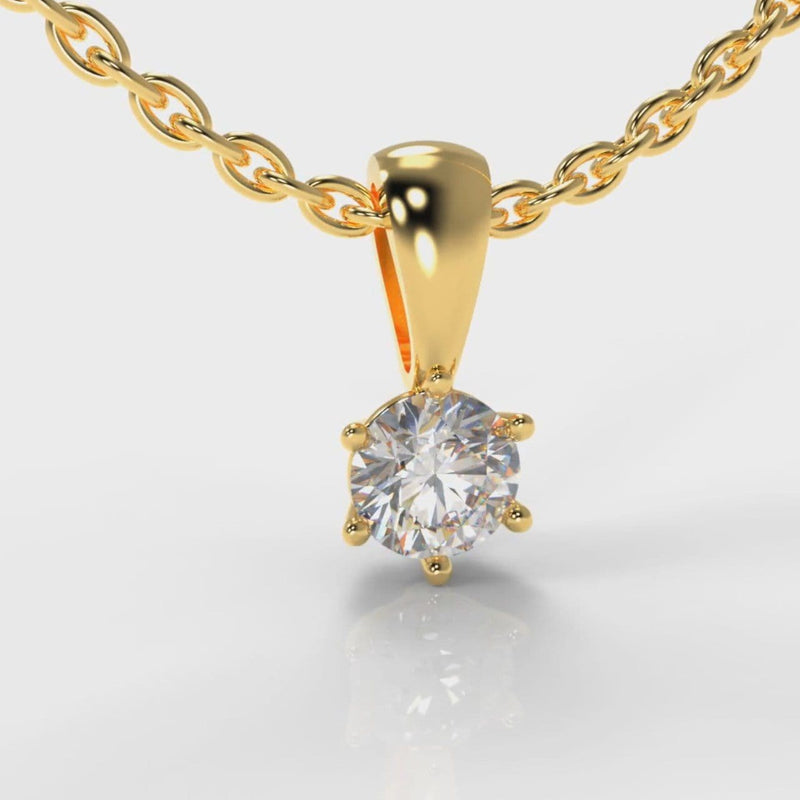 Six Claw Diamond Pendant (Lab Grown Diamond) - Yellow Gold