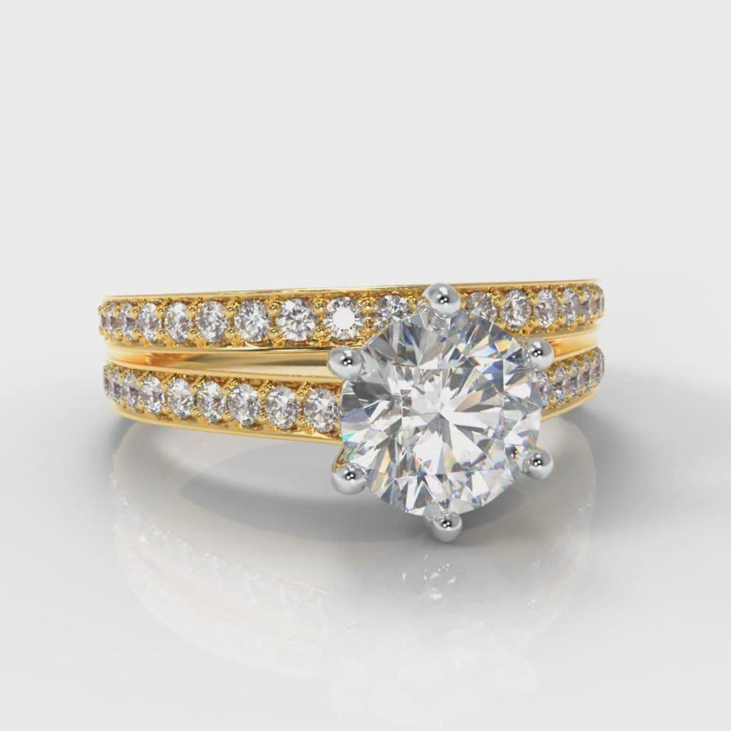 Star Pavé Round Brilliant Diamond Bridal Set - Yellow Gold