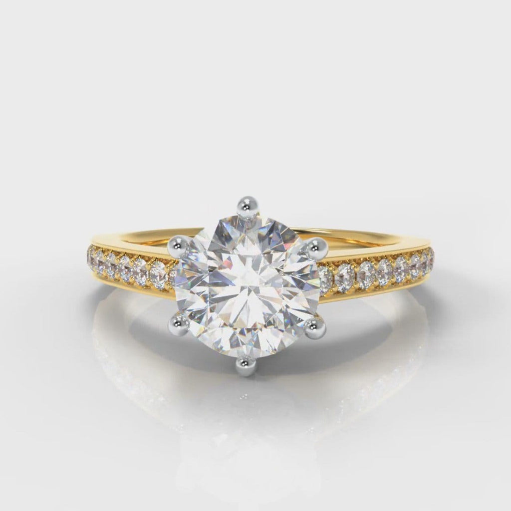 Star Pavé Round Brilliant Diamond Engagement Ring - Yellow Gold