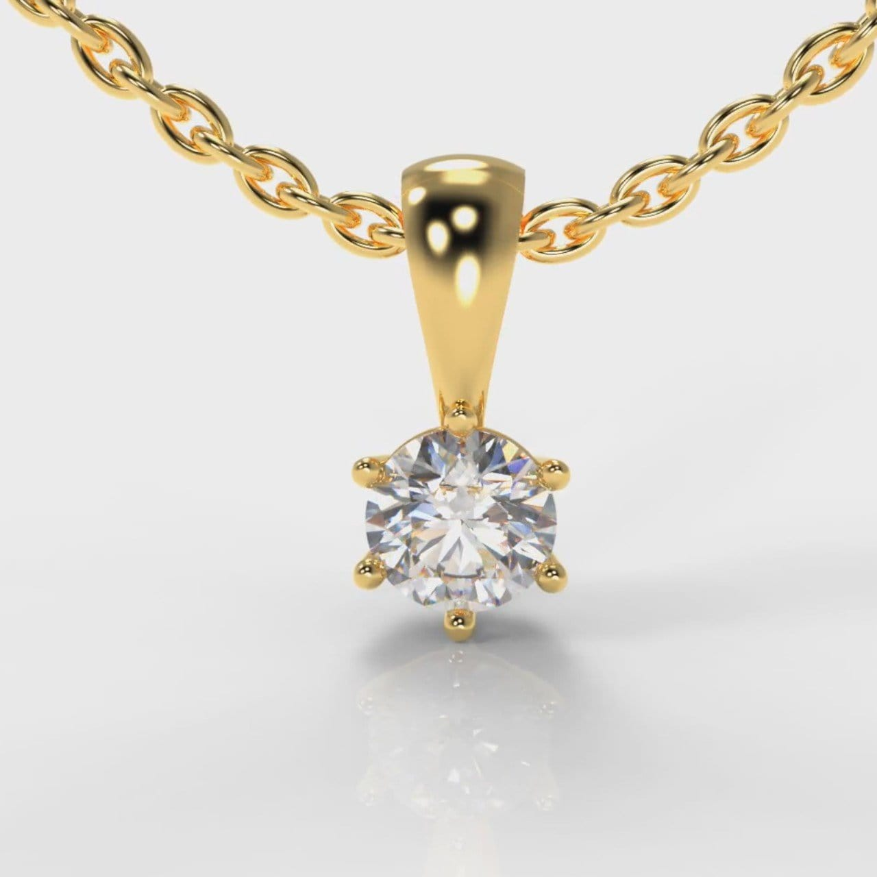 Six Claw Diamond Pendant - Yellow Gold