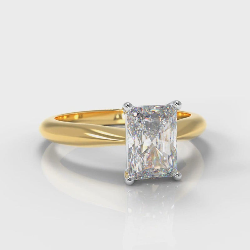 Carrée Solitaire Radiant Cut Diamond Engagement Ring - Yellow Gold