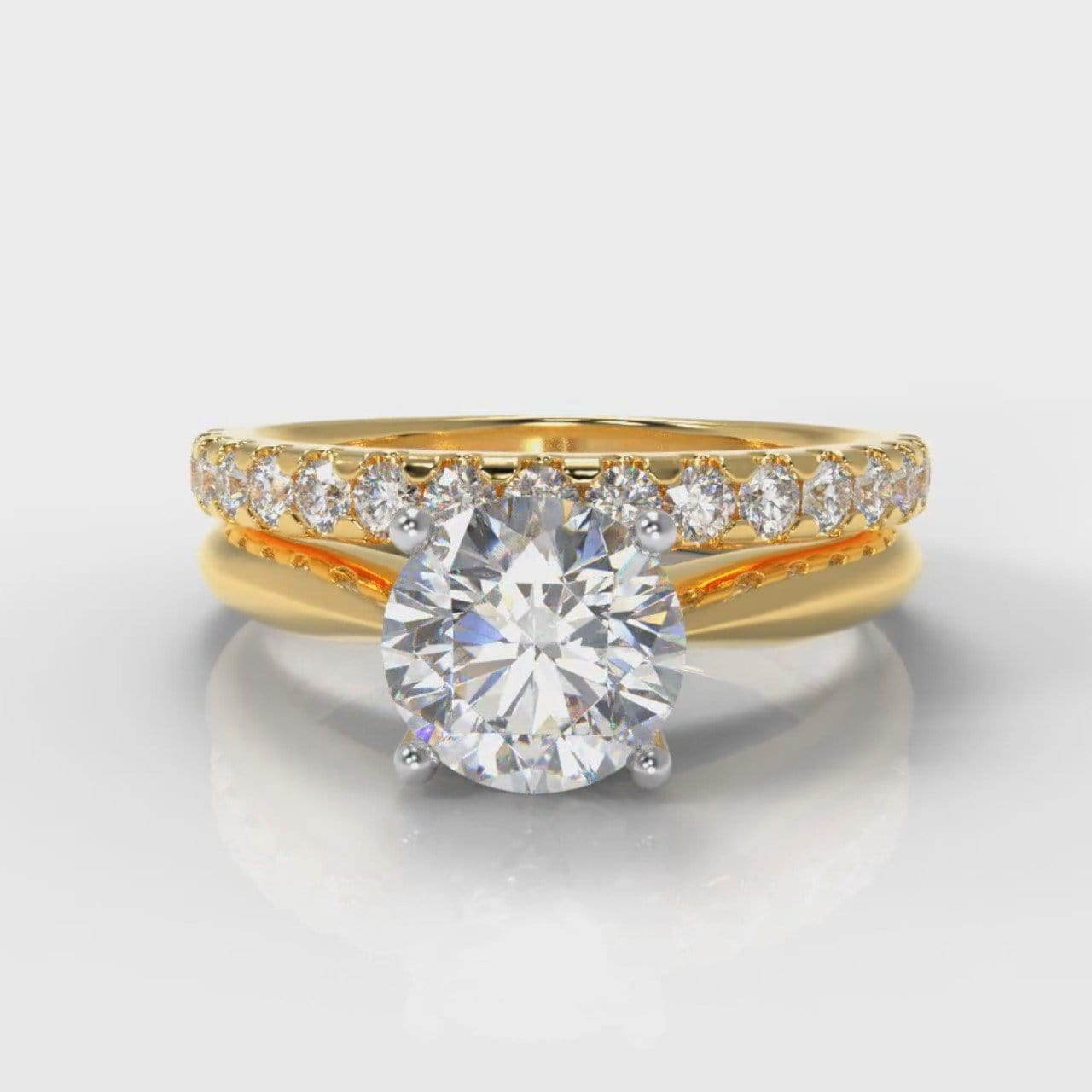 Carrée Solitaire Round Brilliant Cut Diamond Bridal Set - Yellow Gold