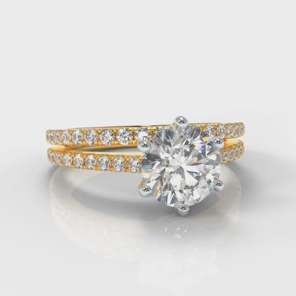 Star Petite Micropavé Round Brilliant Cut Diamond Bridal Set - Yellow Gold