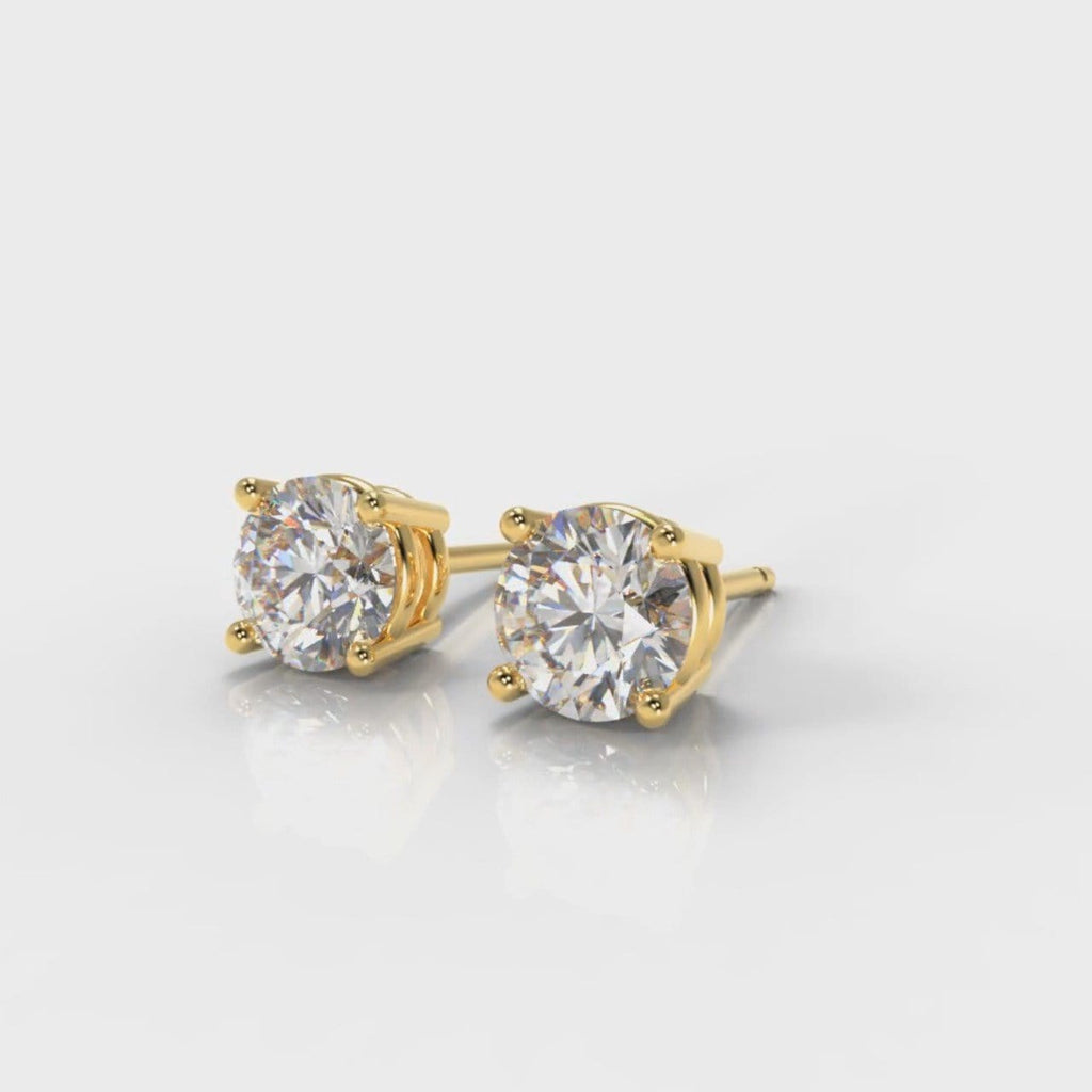 Four Claw Diamond Stud Earrings - Yellow Gold