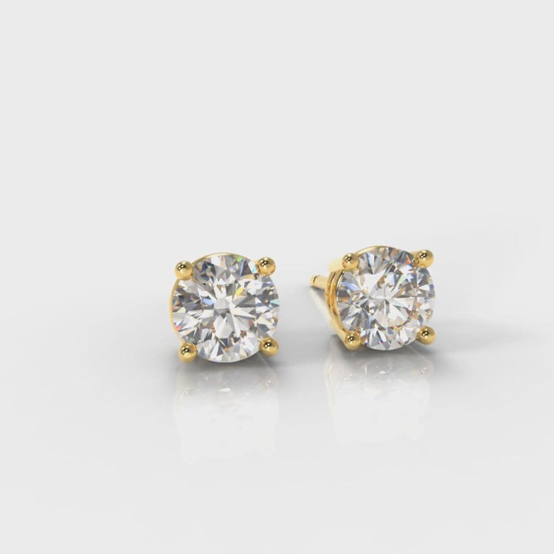 Four Claw Diamond Stud Earrings (Lab Grown Diamond) - Yellow Gold