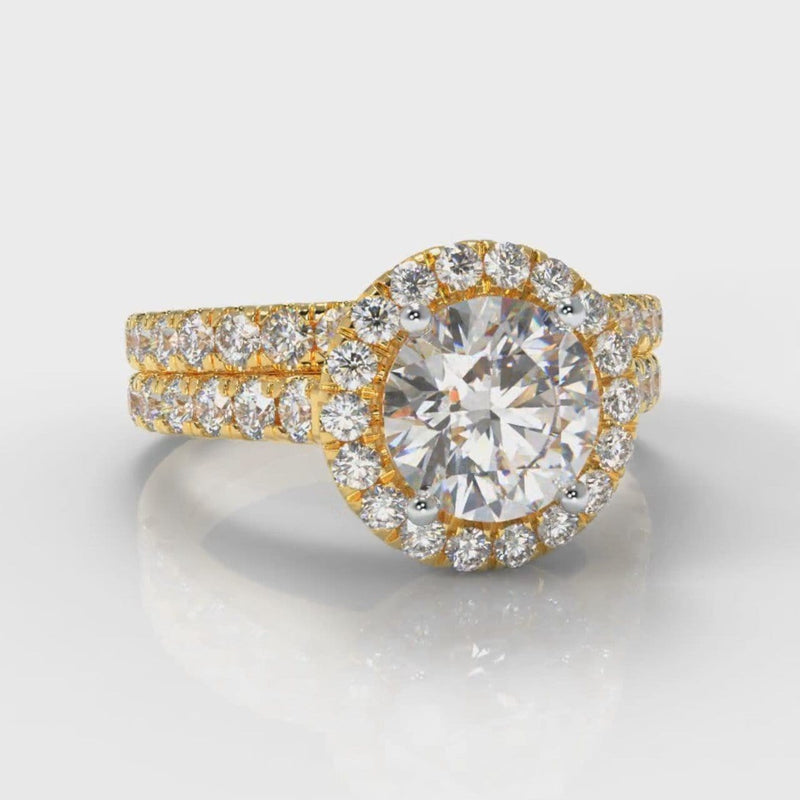 Micropavé Round Brilliant Cut Diamond Halo Bridal Set - Yellow Gold