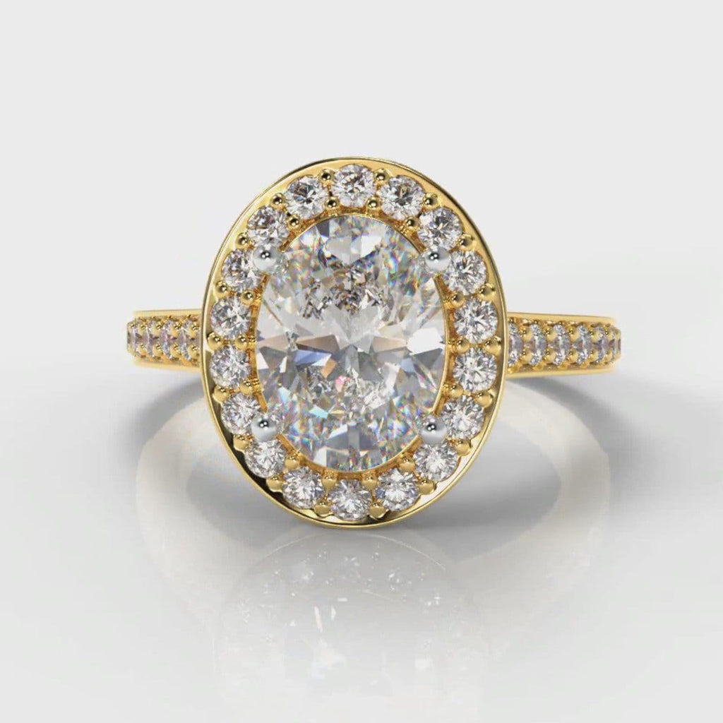 Pavé Oval Diamond Halo Engagement Ring - Yellow Gold