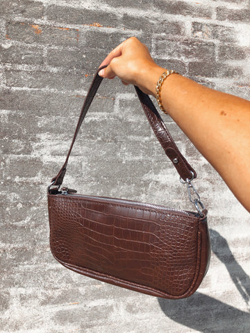 Brown Croc Baguette Bag