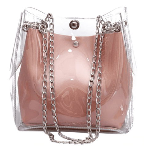 J'adore Dusty Pink Clear Chain Bag