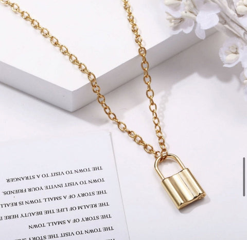 Helena Gold Lock Necklace