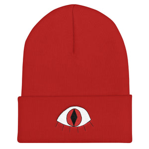 3rd eye cat - Embroidered Cuffed Beanie