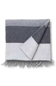Recycled Wool Throw Grey Stripe