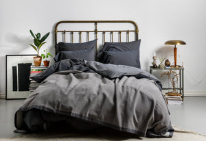 Stone Washed Cotton Bedspread Grey