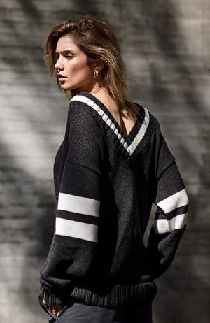 Oversize Varsity Sweater by Raul Magdaleno Grey/White