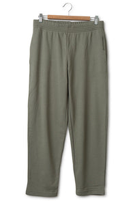 Cropped Cotton Jersey Pants Deep Lichen Green
