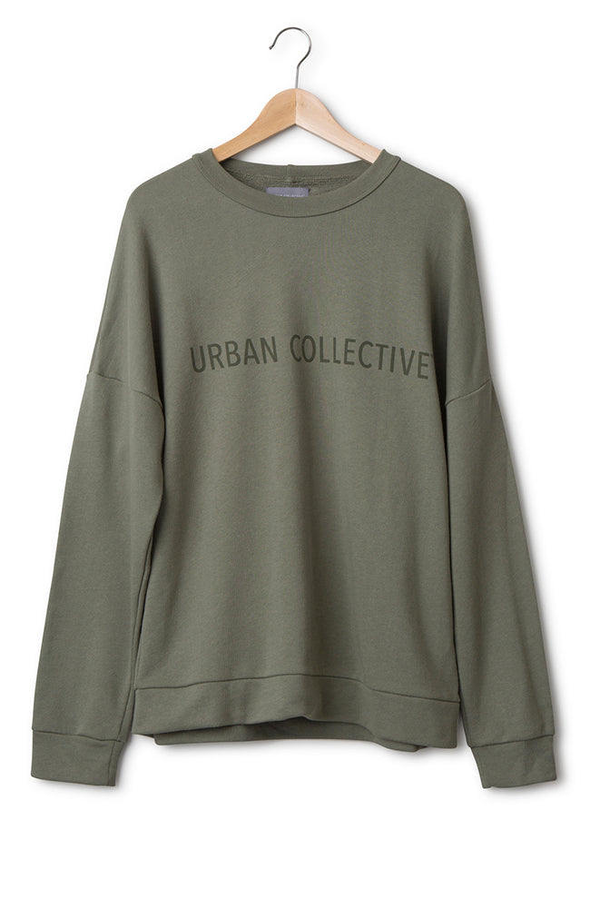 Oversize Sweater Cotton Jersey Deep Lichen Green