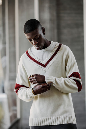 Oversize Varsity Sweater by Raul Magdaleno White/Red
