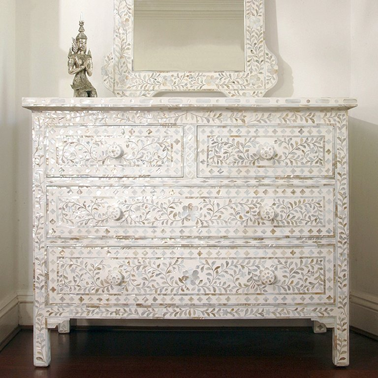 White Mother Of Pearl Large Chest Of Drawers - Artemis Brighton