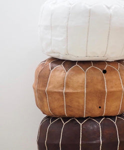 Leather Pouffe - Artemis Brighton