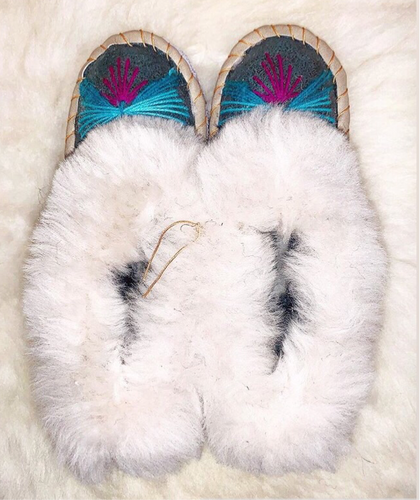 Sheepskin Slippers / Moccisains  handmade for women and men