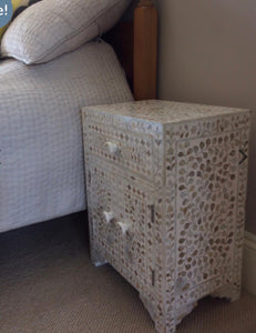 Pearl Inlay Bedside Table - Artemis Brighton