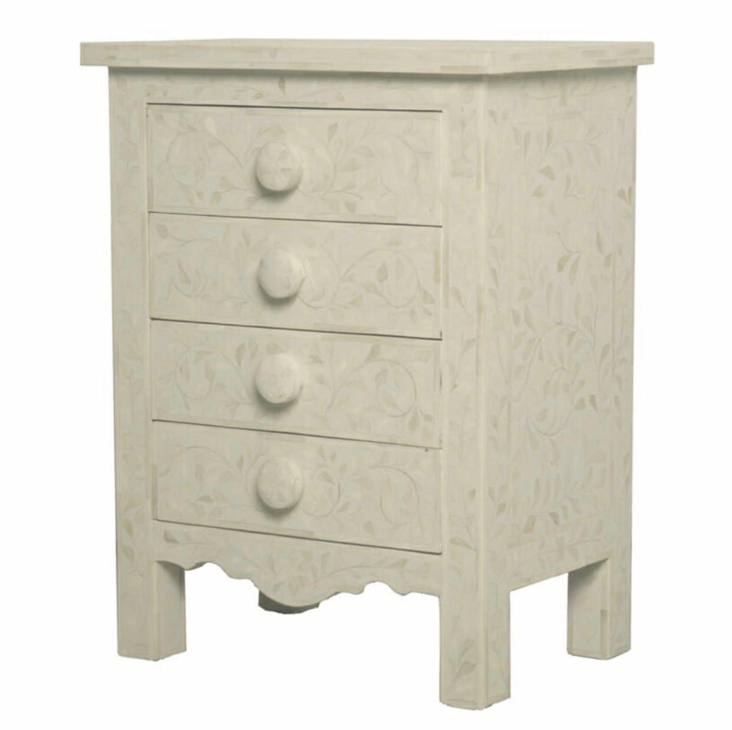 Bone Inlay 4 Drawer Bedside Chest - Artemis Brighton