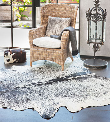 Speckled Black and White Cow Hide Rug - Artemis Brighton