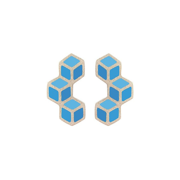 Cube trois vertical earrings