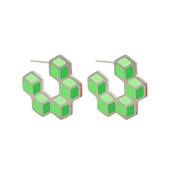 Cube hoop earrings