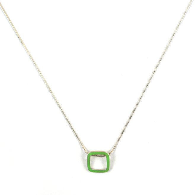 Carré pendant - small - on a 16'' snake chain