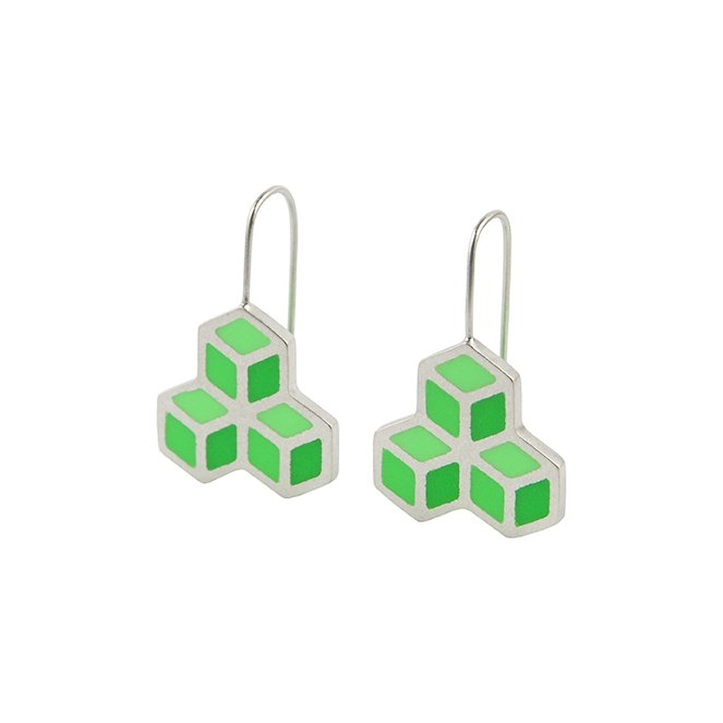 Cube trois hook earrings 2