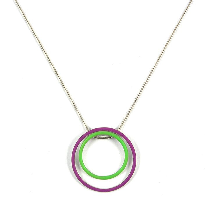 Cercle interchangeable pendants - medium + large - on a 18'' snake chain