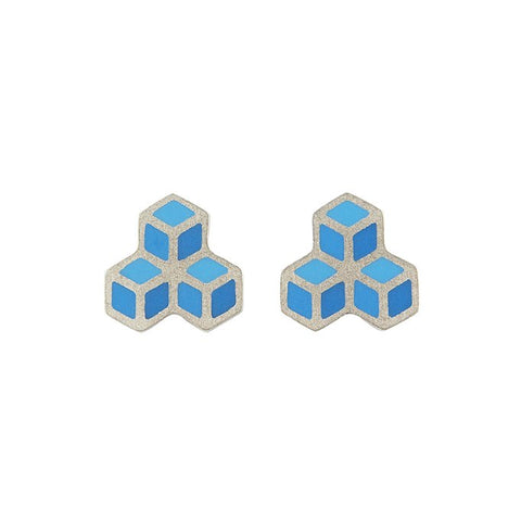 Cube trois stud earrings