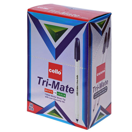 Tri-Mate Cello 1.0mm Ball Pen Set of 50, Blue - Saudi Arabia
