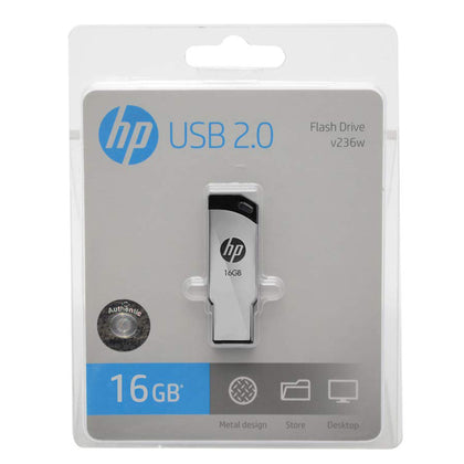HP V236W 16GB Silver Metal Design USB 2.0 Flash Drive - Saudi Arabia