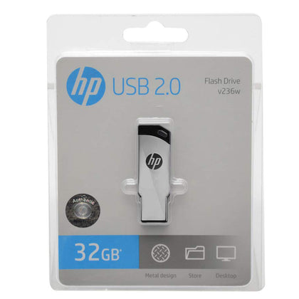 HP V236W 32GB Silver Metal Design USB 2.0 Flash Drive - Saudi Arabia