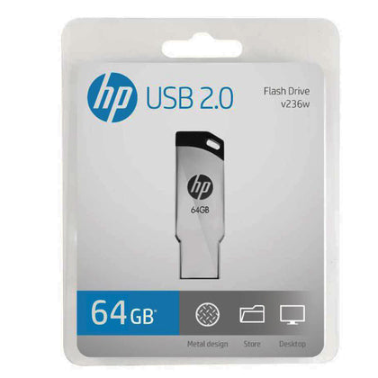 HP V236W 64GB Silver Metal Design USB 2.0 Flash Drive - Saudi Arabia