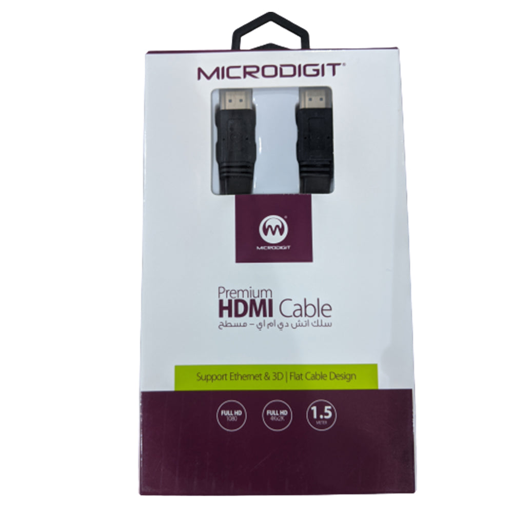 MicroDigit HDMI 1.5M Cable Flat Design
