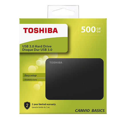 Toshiba 500GB Canvio Basics USB 3.0 Portable Hard Drive Black - HDTB405EK3AA - Saudi Arabia