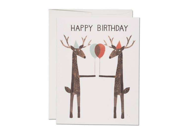 Red Cap Cards - Party Deer