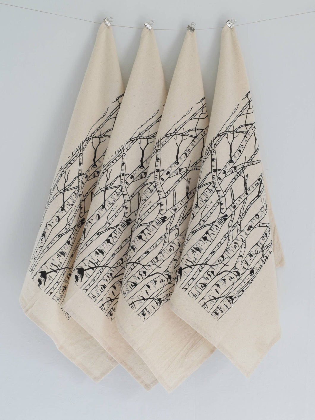 Birch Tree Cloth Napkins (Black)